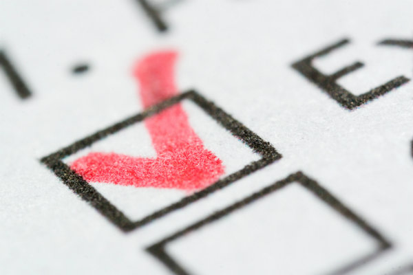 Ballot checkmarked by voter